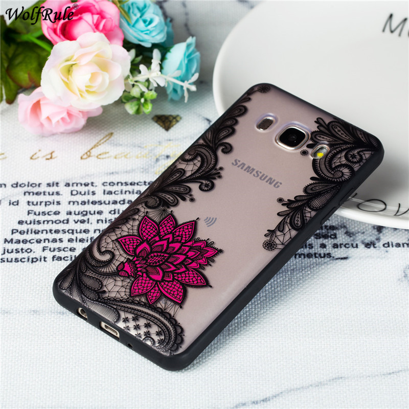 For Cover Samsung Galaxy J7 2016 Case Embossed Lace Rose Phone Case For Samsung J7 2016 Cover For Samsung J7 2016 J710 5.5''
