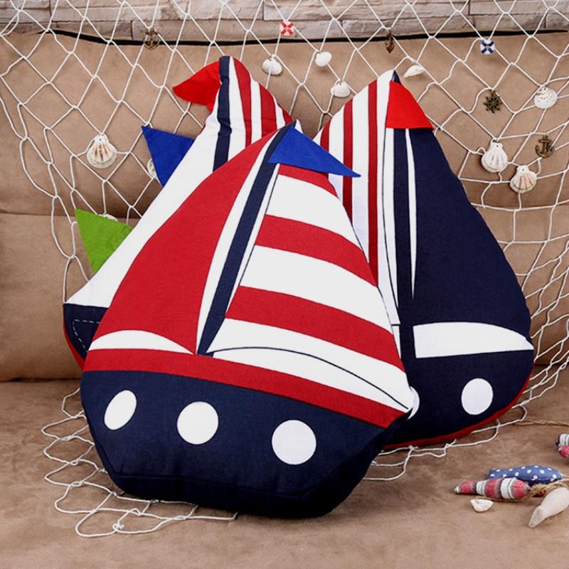Decorative Nautical Cotton Throw Pillow Sailboat Shape