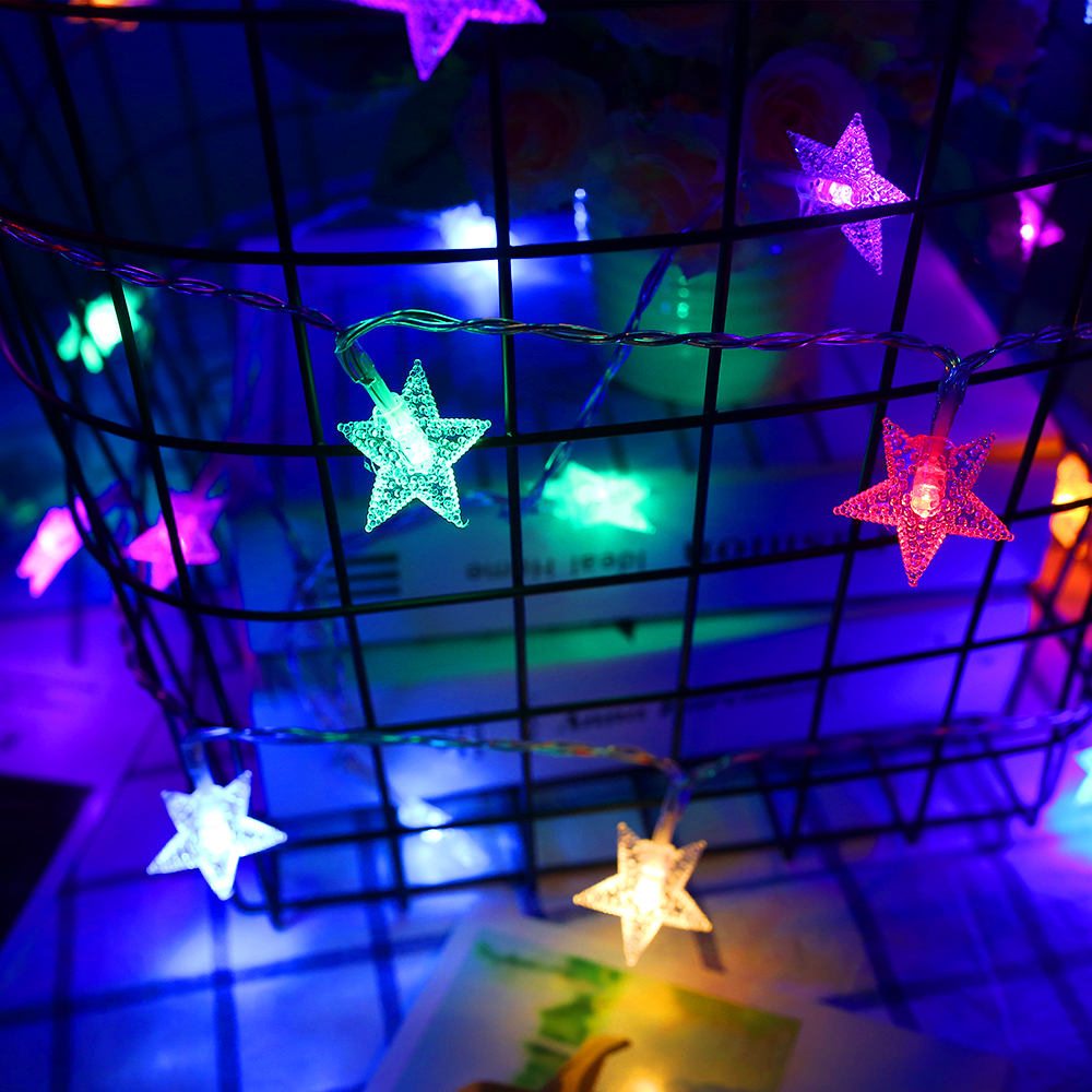 Stars Led String Light Garlands 10-40leds 1M-4M Strip Princess Room Party Home Holiday Christmas Decor 9 Colors Five-pointed L0