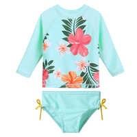 Baohulu impressão cyan bebê menina maiô de manga longa meninas banho upf50 + uv protetor solar crianças trajes banho natação