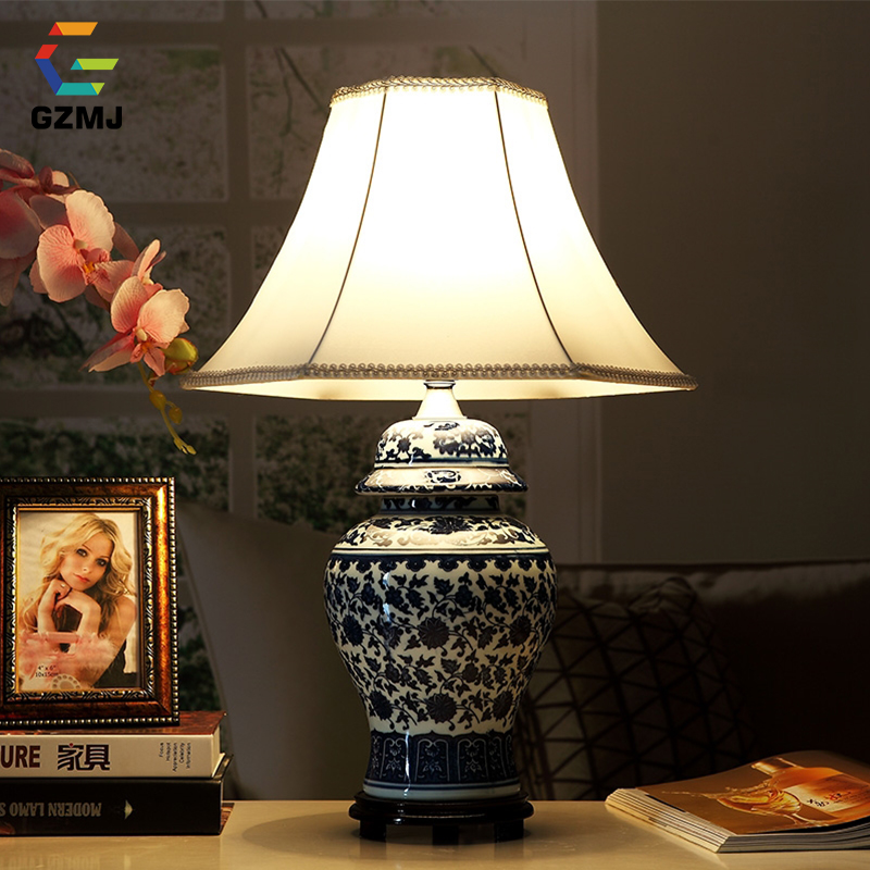 GZMJ Art Deco Porcelain Table Lamp Chinese Style E27 Base Holder Ceramic Desk Lamp for Bedroom/Living Room LED Desk Lamps table lamps europe style with e27 holder for bedroom living room bedside table lamps desk lamp luminarias decorative lamp shade