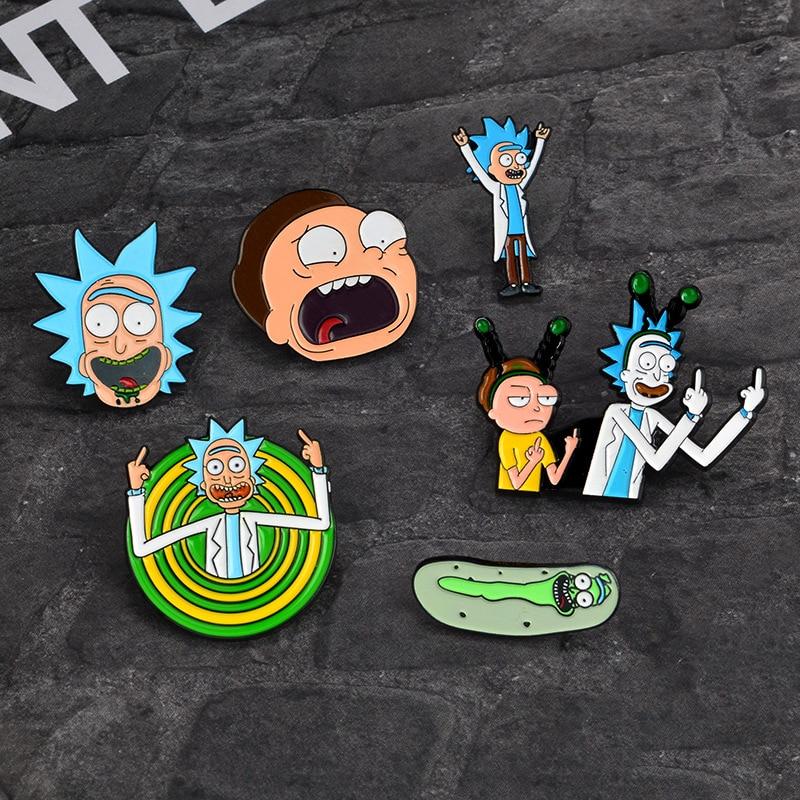 Cartoon Rick And Morty Cloth Pin Enamel Badge Brooches Cucumber Shirt Jacket Pins