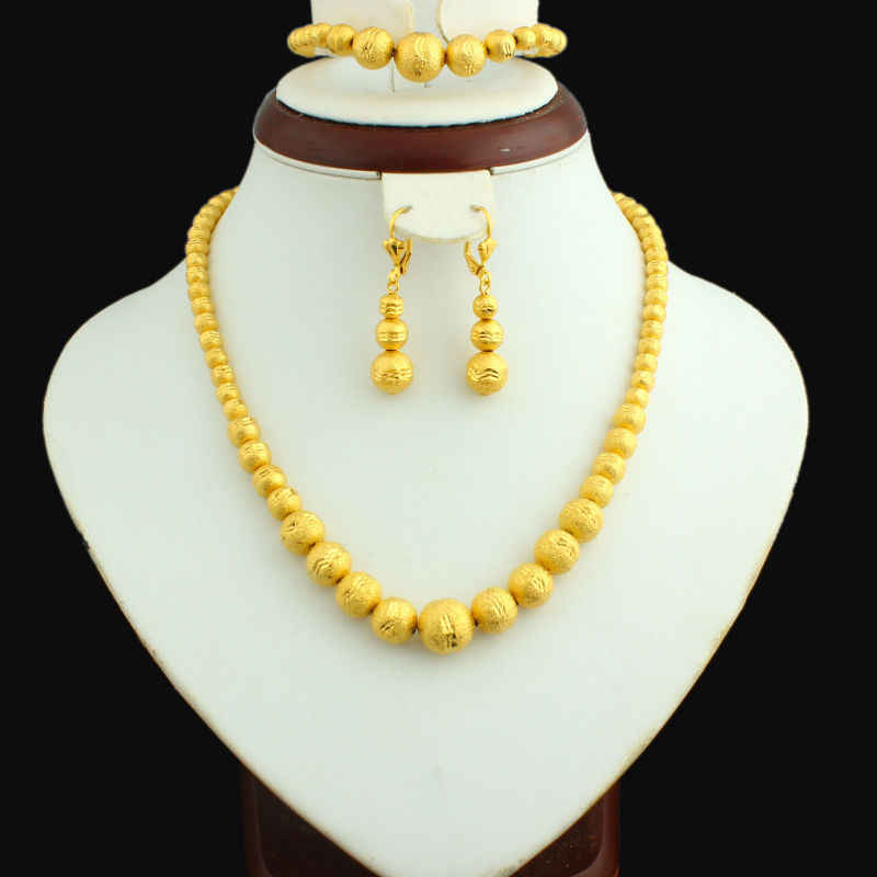 Gold Bead Set Jewelry 45cm Necklace/Earring/21cm Bracelet  Gold Color Jewelry Beads African/Ethiopian For Women