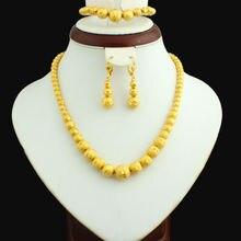 Set Joyería Del Grano de oro 45 cm Collar/Pendiente/21 cm Pulsera de Oro Plateado Granos de La Joyería Africana/Etíope para Las Mujeres