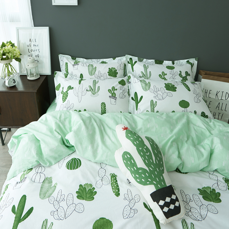 Simple style cactus banana Clouds bedding set cotton 4pcs ...