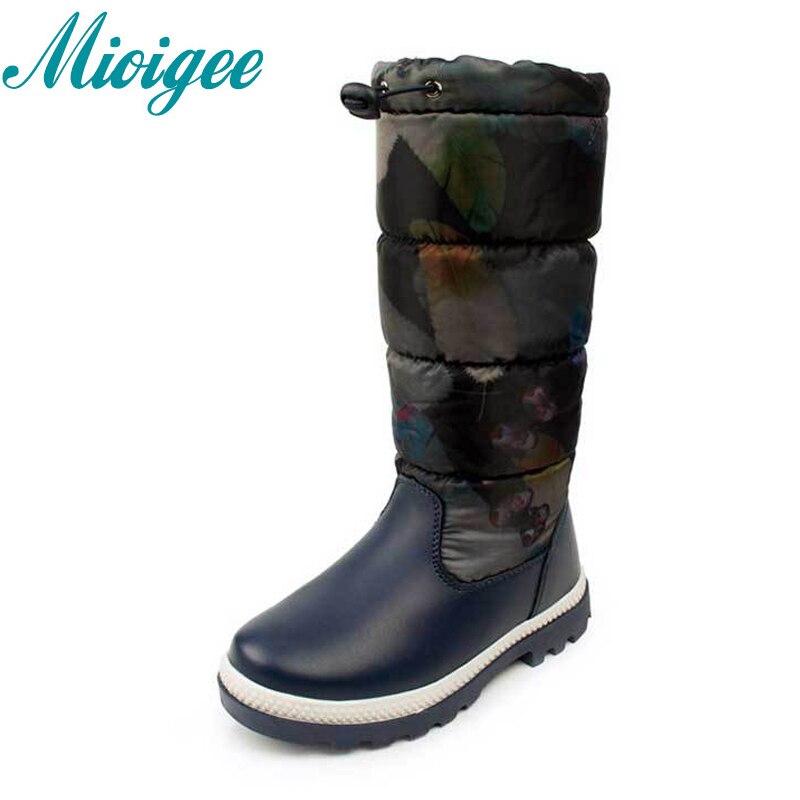 Mioigee 2017 Russia winter -30 degrees kids warm snow boots children shoe girls boot waterproof non-slip outdoor botas for 32-37