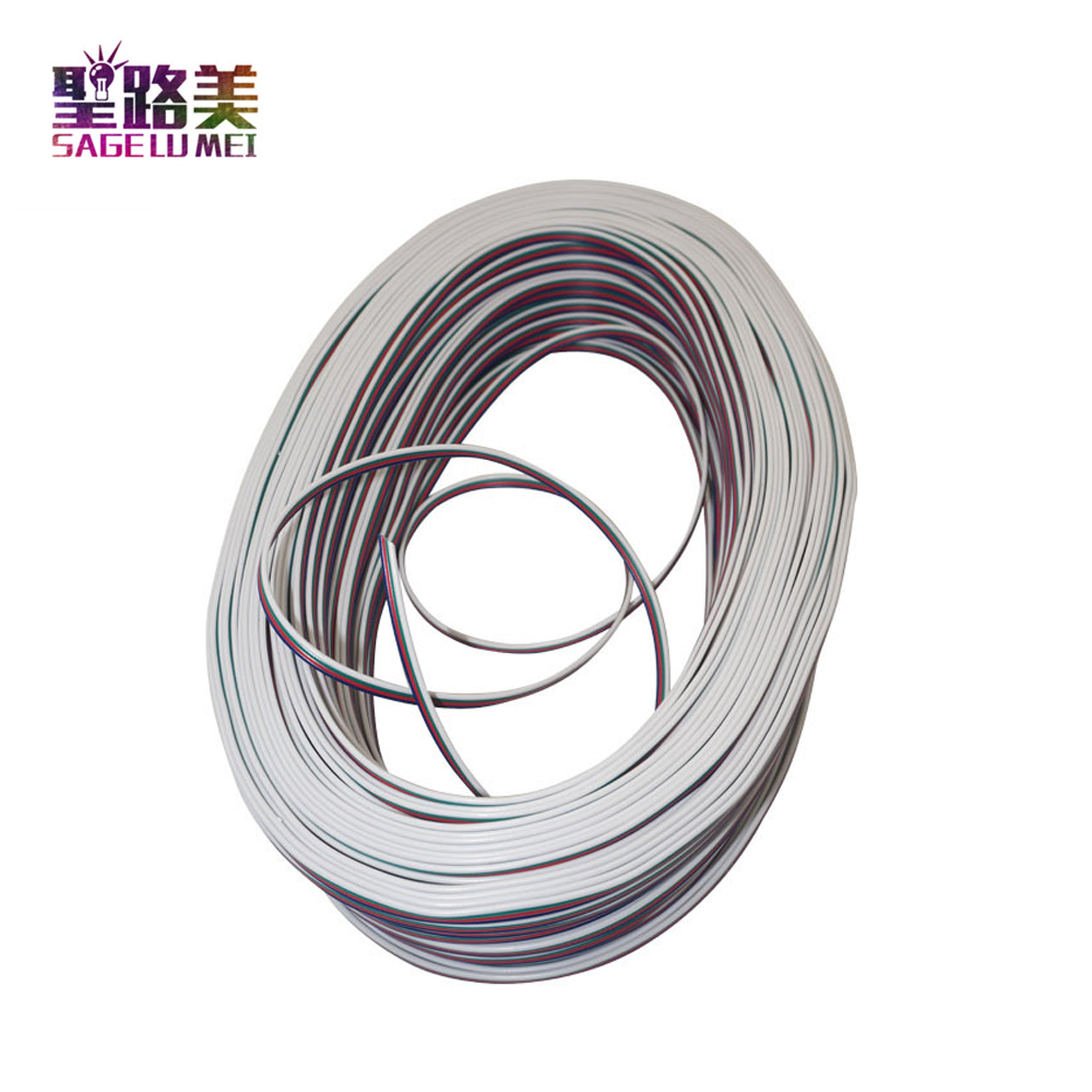 100Meter/roll RGB 4-Pin Extension Connector Cable Cord For 3528 5050 2801 8806 APA102 LED Strip RGB+White/Black extended line