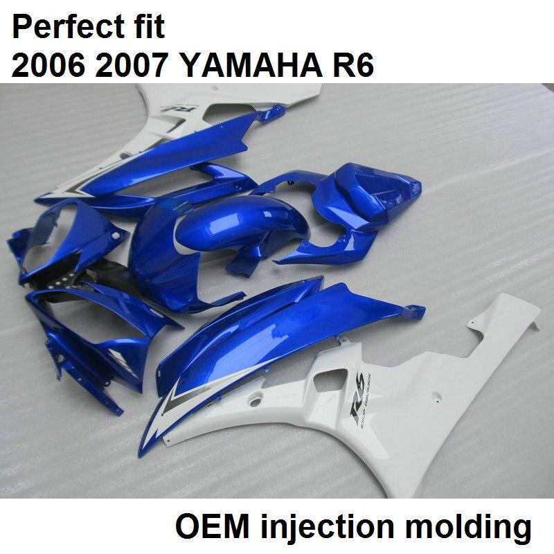 100% подходит Для литья под давлением обтекатели для Yamaha YZF R6 2006 2007 синий металлик белый мотоцикл обтекатель комплект YZFR6 06 07 BN04