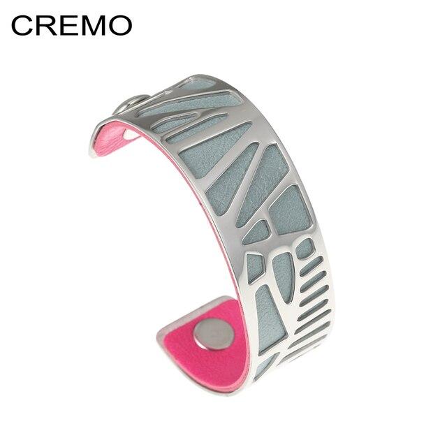 Cremo Woodpecker Cuff Bracelet Bangles Argent Stainless Steel Bracelets Manchette Femme Reversible Leather Band Bangle Women