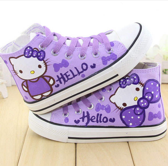 5693a6607fc7a cartoon hello kitty cat kids shoes hand painted sneakers children boots  boys flats school casual shoes for girl sandals shoes