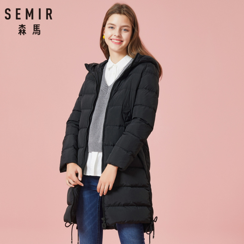 SEMIR Women Quilted Long Down Hooded Coat with Zip Down Filling Puffer Coat with Zip Pocket