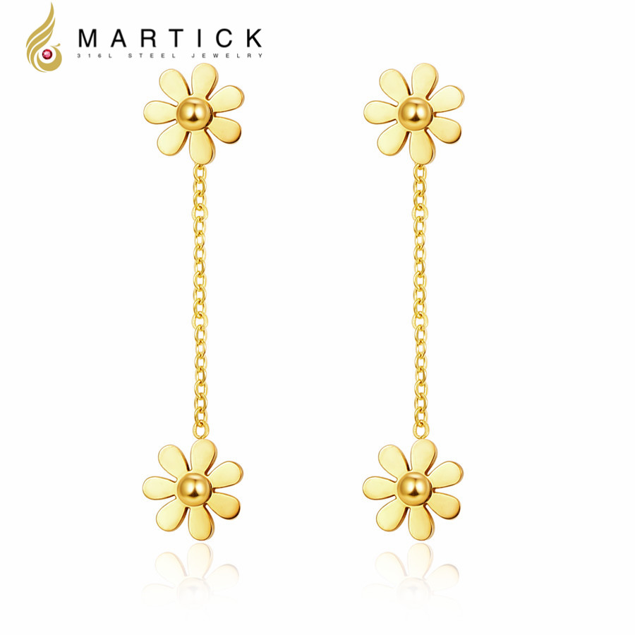 Martick Vintage Earrings 316l Stainless Steel With Small Daisy Design Long  Style Stud Earrings For Women