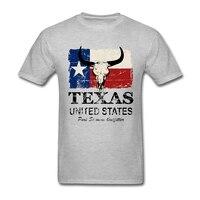 Печатные Изделие из хлопка с короткими рукавами США американский Техас бык Флаг Футболка Для мужчин Повседневное футболка для Для мужчин