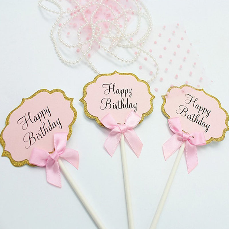 Image 2 - 10pcs Happy Birthday Cupcake Topper 1st Birthday Party Decorations Baby Girl First Birthday Boy Party My One Year Supplies-in Banners, Streamers & Confetti from Home & Garden