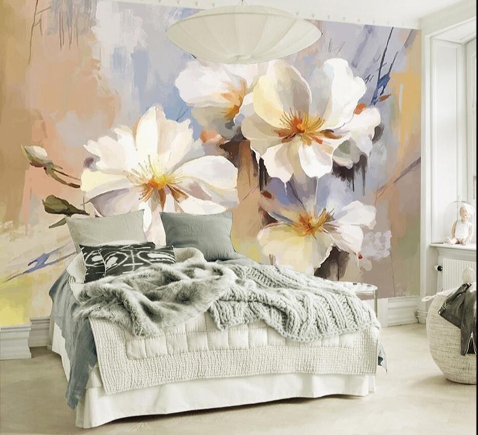 Europäischen 3D Malerei Wandbild Foto Tapete Weiß Blume Wand Papier Für Schlafzimmer  Tapete Tapeten TV Backsplash