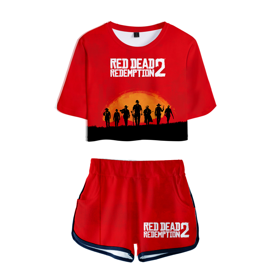 New Sweat Suits 3D Women Two Piece Set Top and Pants RED DEAD REDEMPTION 2 Kpop Tracksuit Women Summer