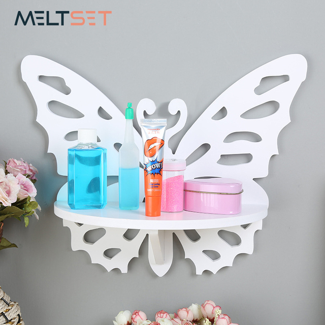 wood plastic wall mounted storage rack shelves butterfly shaped