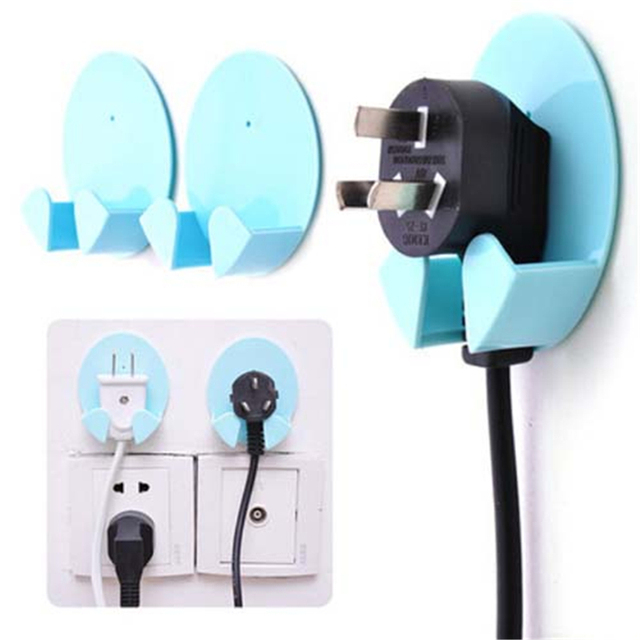 2Pcs Self Adhesive Helpful Sticky Hook Electric Wire Plug Hanger ...