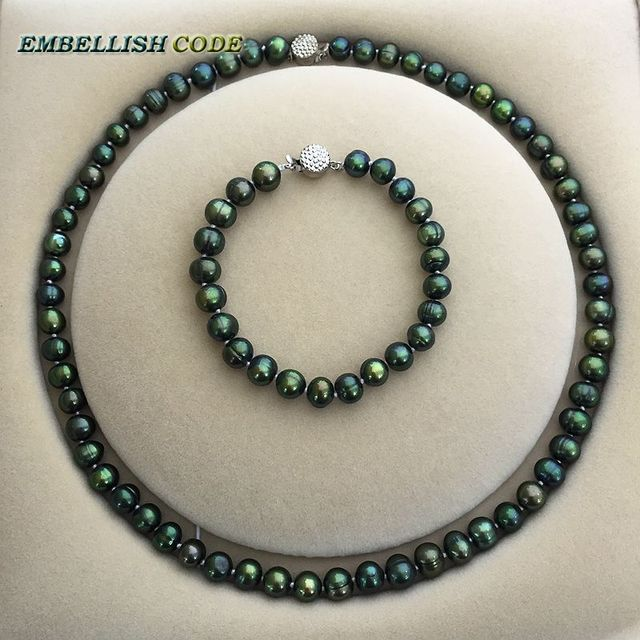 low price 7-8mm necklace bracelet set Promotions sale dark Malachite green real Cultured pearls necklace Classic style for women