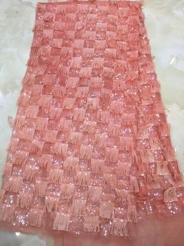 Best Quality african lace fabric H5475 peach swiss voile lace high quality embroidery polyester French mesh lace fabric material