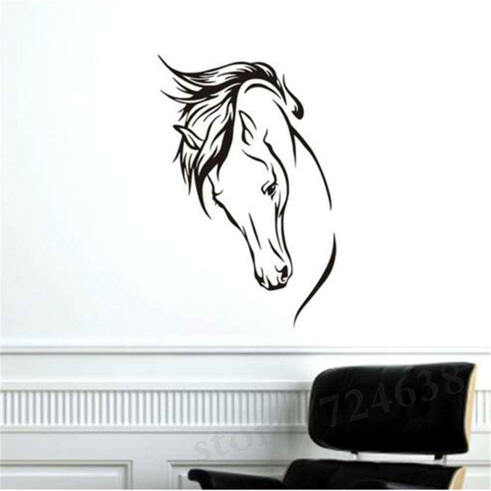 Hot Sale Vinyl Removable Wall Decal Head Of Horse Wall Murals Living Room Decorative Animal Home Sticker