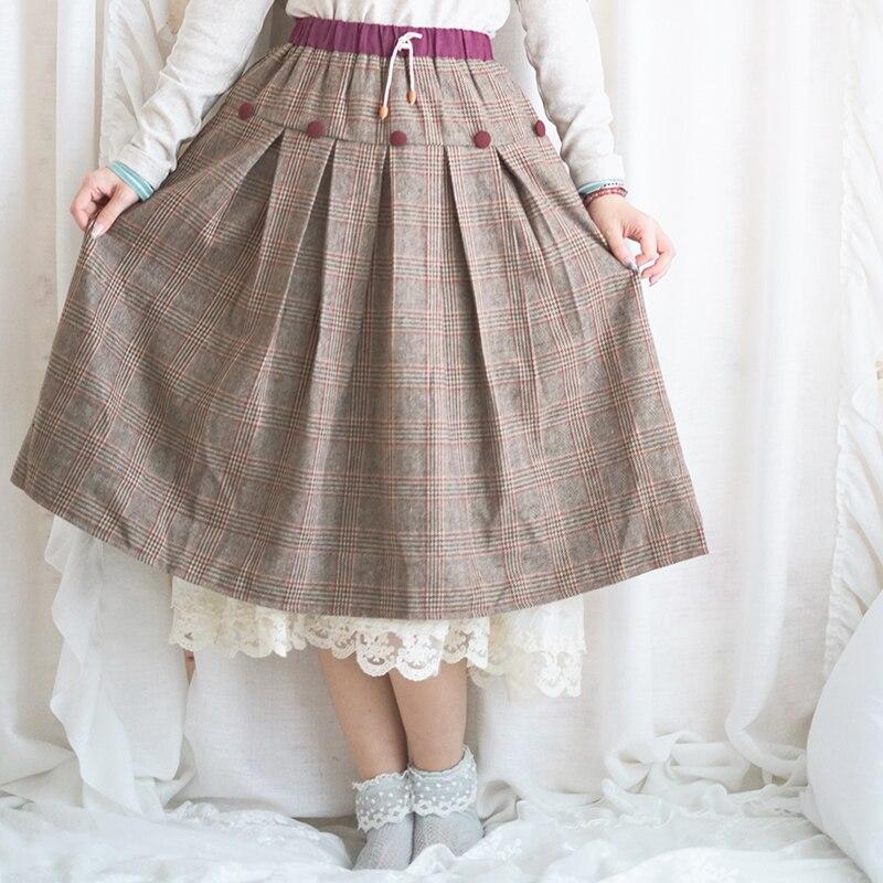 Japonais Vintage Rétro Hippie Boho décontracté Mori Fille Doux Damier En Tweed À Carreaux Taille Élastique Plissé Femmes Automne Jupe