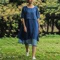 LinenAll женская платье, синий пуловер платье женщина, чистый природный крашение 100% рами платье, о-образным вырезом, онлайн свободные платья халат wuyou