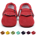 Soft Bottom Fashion Tassels Baby Moccasin Newborn Babies Shoes 14-colors PU Suede Leather Fringe Prewalkers First Walkers