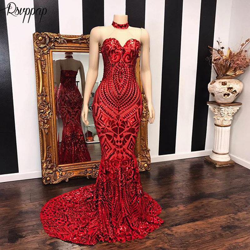 Long Elegant Red Mermaid   Prom     Dresses   2019 Sweetheart Graduation African Women Black Girl Sequin   Prom     Dress   Custom Made