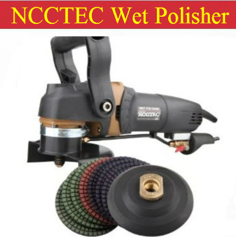 Полировщик для влажного камня, 5 дюймов + Европейская вилка + набор из 5 полировальных колес + 5 дюймовых наклеек, угловая шлифовальная машинка