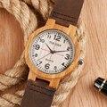Los Hombres de lujo Relojes De Madera Hechos A Mano De Madera De Bambú de Las Mujeres de Cuarzo Reloj de Moda Casual Reloj de la Correa de Cuero Masculino Del Relogio