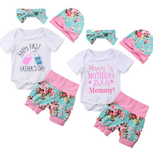 96fac0ed7a6e Happy 1st Mother Fathers Day Newborn Toddler Floral Tops For Baby Girls  Romper Jumpsuit Shorts Cap