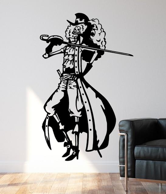 Vinyl wall decals One Piece Brook der Pirat, home decor, boy room sea fan room decoration wall stickers   HZW15