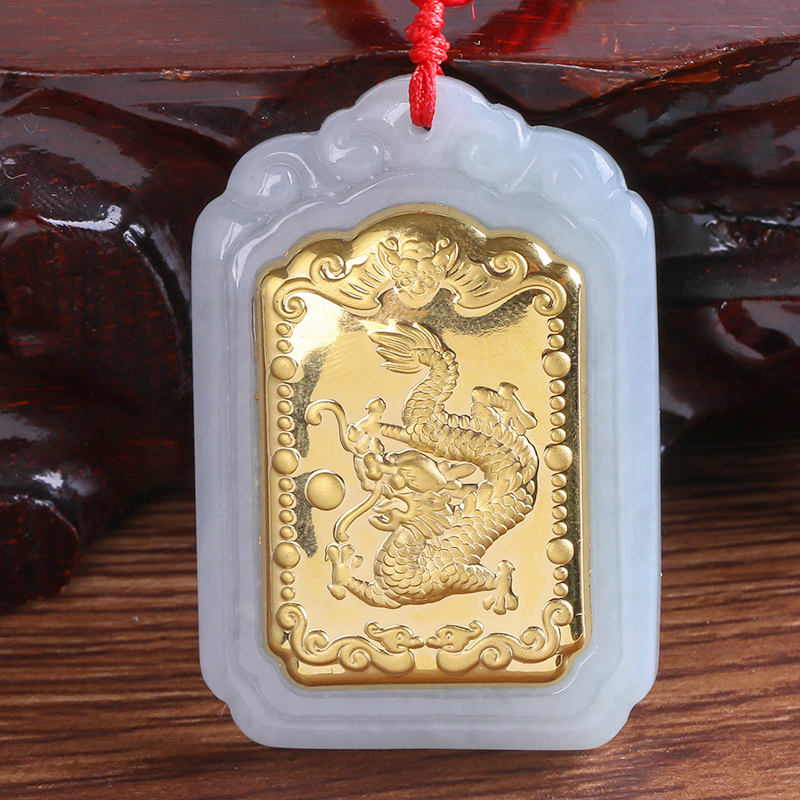 2018 New Products Quartet Mirror Dragon Pendant High Quality Men and Women Necklace Pendant White Hetian Jade Pendants 8603 Gift hetian jade pendant for men and women cross jade pendant necklace pattern white high quality