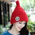 NEW 2016 Autumn Winter Smiling Face Knitted Hat Women Caps Crochet Hats For Women Cute Casual Cap Women Beanies