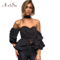 ArtSu 2017 Summer Sexy Slash Neck Blouse Ruffles Club Women Tops Shirts Blouses Puff Sleeves Blusas
