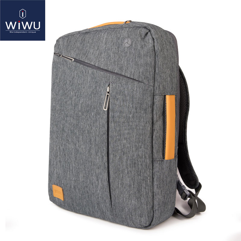 2019 WIWU Laptop Backpack 17.3 15.6 15.4 14 Canvas Waterproof Backpack Leather Bag For Macbook Pro 15 Men's Backpack Laptop Bag