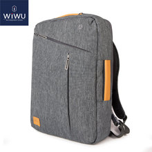 2017 New WIWU Laptop Backpack  13.3 14.1 15.4 15.6 Canvas Waterproof Backpack Genuine Leather Bag for Macbook Men's Backpack
