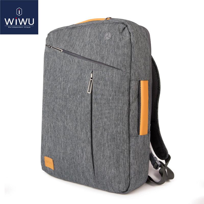 2019 WIWU Laptop Ryggsäck 17.3 15.6 15.4 14 Canvas Vattentät Ryggsäck Läderväska till Macbook Pro 15 Mäns Ryggsäck Laptop Väska