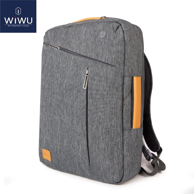 2019 wiwu mochila para portátil 17.3 15.6 15.4 14 lona à prova dwaterproof água mochila de couro para macbook pro 15 mochila para computador portátil
