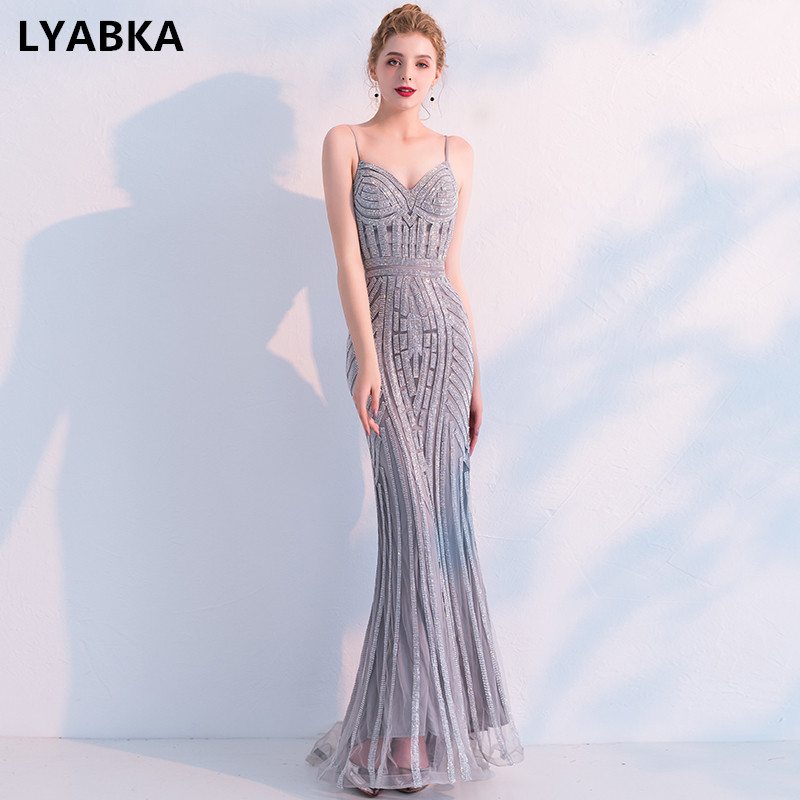 New Fashion Sexy Sweetheart Evening Dress 2019 New Robe De Soiree Vestido De Festa Gray Mermaid