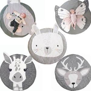 Play Mat Cartoon Animal Baby Mats Newborn Infant Crawling Blanket Cotton Round Floor