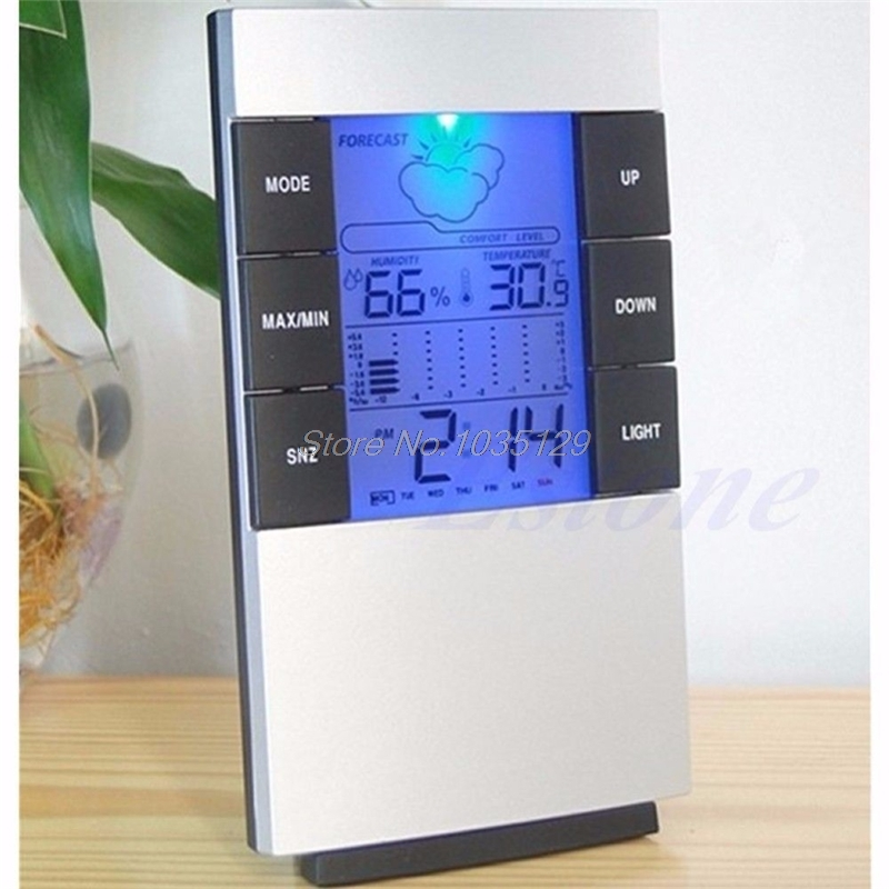 Sincere Indoor Hygrometer Weather Forecast Clocks Max/min Temp Humidity Record Chime Color Changing Desktop Digital Table Clocks Watch Buy One Get One Free Home & Garden