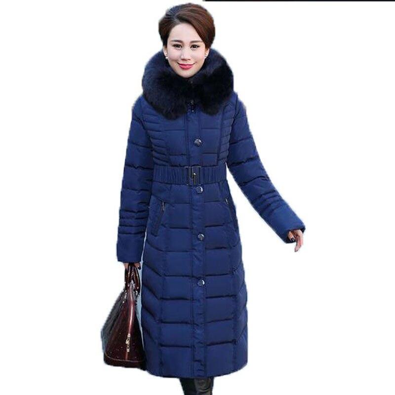89f87e86e Women 2017 Winter Coat Women Plus Size 5XL X long Parka Luxury Fur Cotton  Padded Coats Women Thick Hooded Wadded Jackets-in Parkas from Women's ...