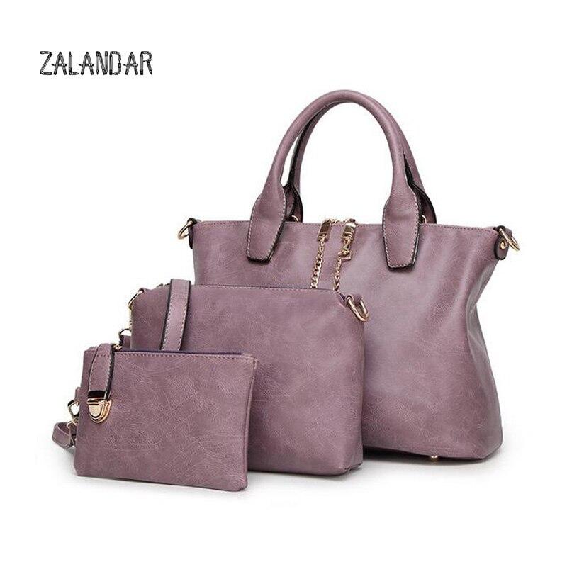 ФОТО ZALANDAR 3 Pcs/Set Handbags Women Messenger Bag Female Purse Solid Shoulder Bags Office Lady Casual Tote 2017 New Top-Handle Bag