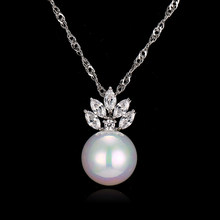 Bettyue Brand Fashion Charm Cute Zircon Two Colors Necklaces Pearl Pendant Jewelry Necklaces For Woman Wedding Party Florid Gift(China)