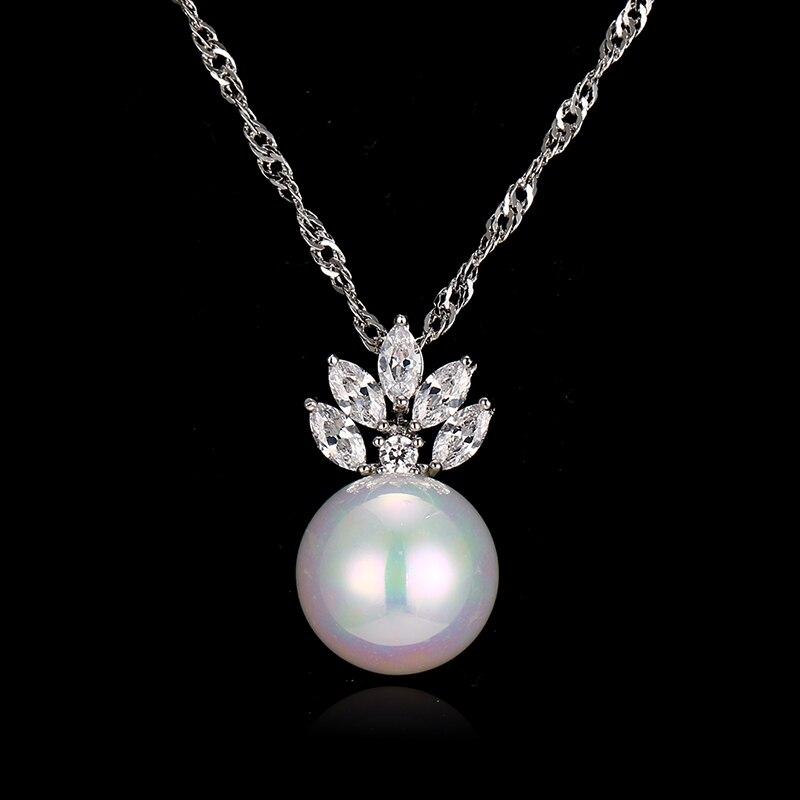 Bettyue Marque De Mode Charme Mignon Zircon Deux Couleurs Colliers Perle Pendentif Bijoux Colliers Pour Femme De Soirée De Mariage Fleuri Cadeau