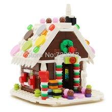 Maison créateur pain d'épice neige maison blocs de construction décoration Mini rue modèle ensemble magasin magasin jouets éducatifs pour les enfants