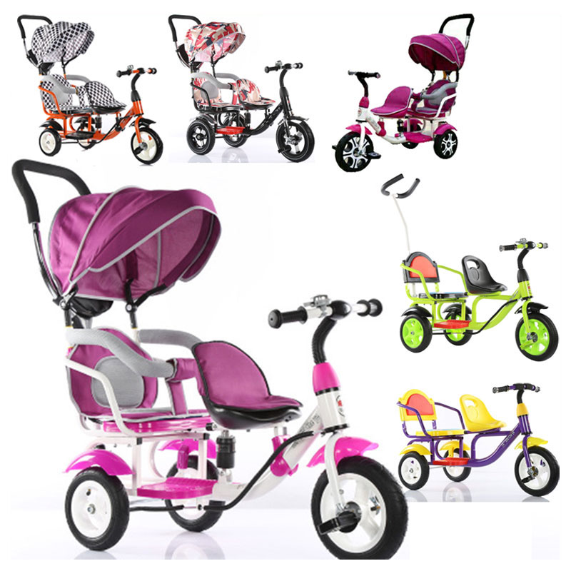 Children Tricycle Bike Double Tricycle Bicycle Twins Baby Stroller Three 3 Wheels Kids Double Bike Umbrella Pram Buggy Pushchair brand quality portable baby tricycle bike children tricycle stroller bicycle swivel baby carriage seat detachable umbrella pram