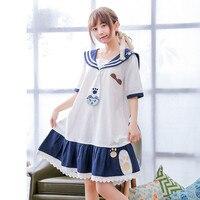 Mori Girl Summer OP Bear Pattern Cartoon Soft Sister Super Cute Cotton White Navy Blue Patchwork